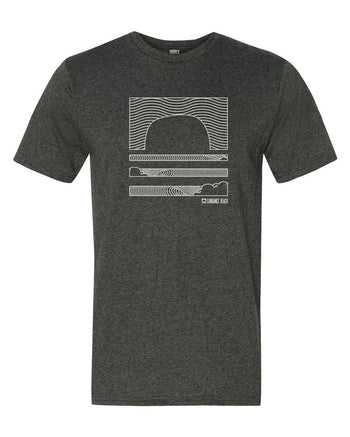 Sundance Beach Linear Waves Mens Tee - Heather Dark Gray