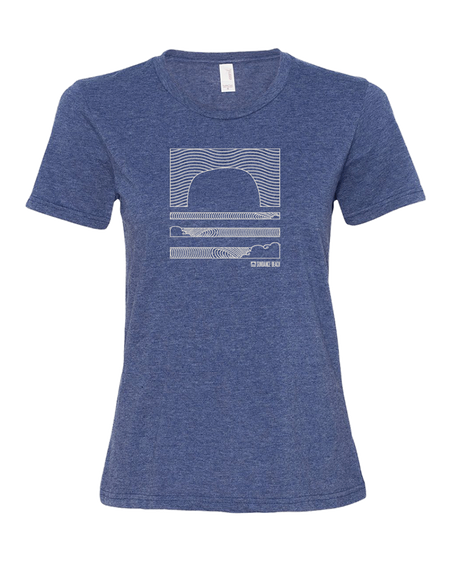 Sundance Beach Linear Waves Women's Tee - Heather Blue