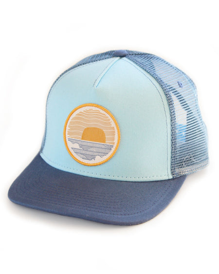 Sundance Beach Wavey Dayz Womens Surfer Trucker Hat Blue