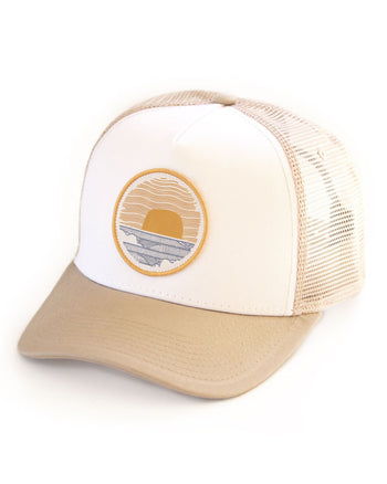 Sundance Beach Wavey Dayz Womens Surfer Trucker Hat Khaki