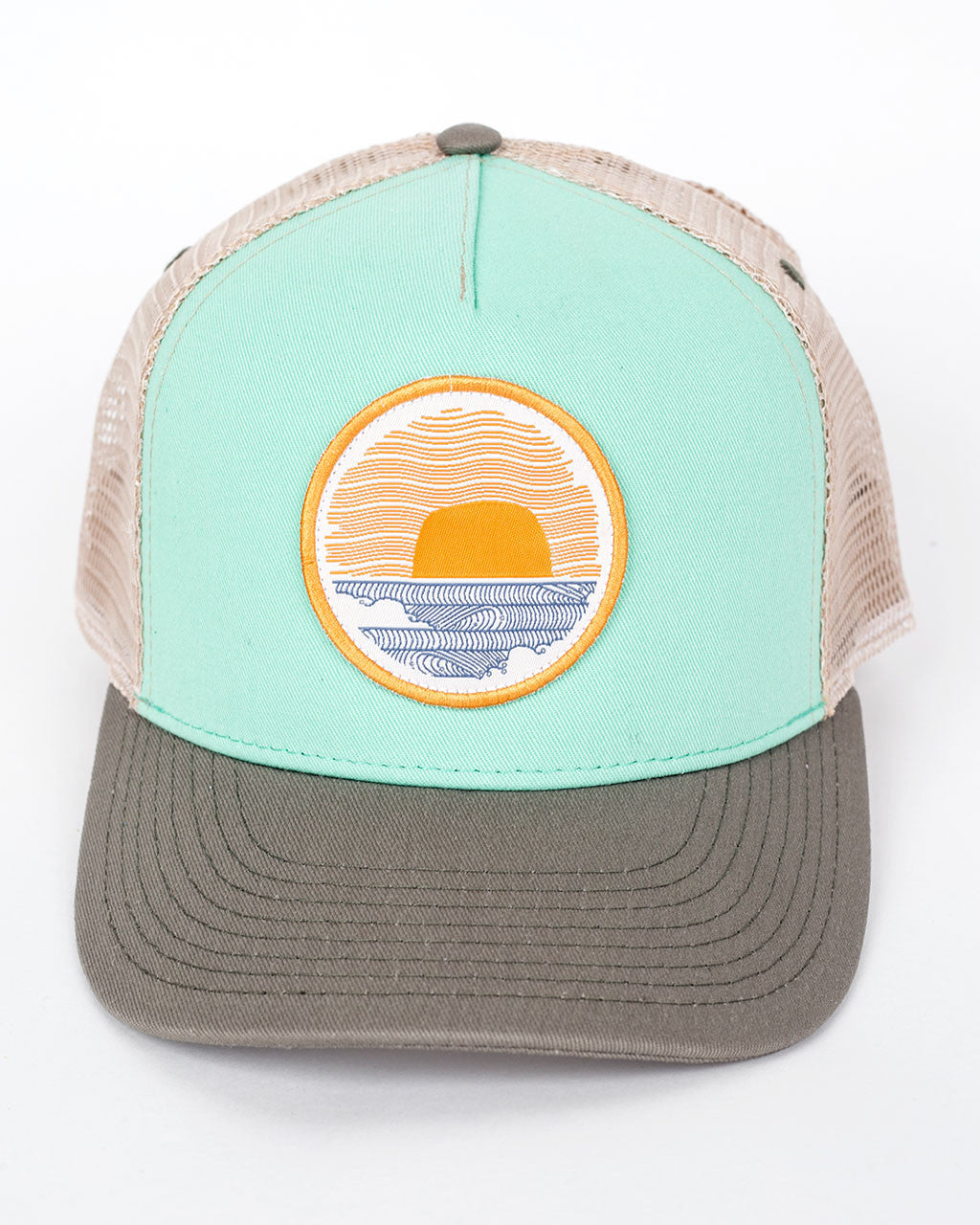 Sundance Beach Wavey Dayz Womens Surfer Trucker Hat Green front