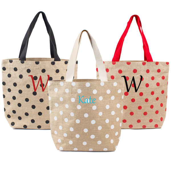 White Polka Dot Natural Jute Tote Bag