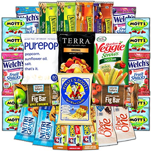 Healthy College Care Package - Granola bars, fruits snacks, popcorn, veggie chips, and more!