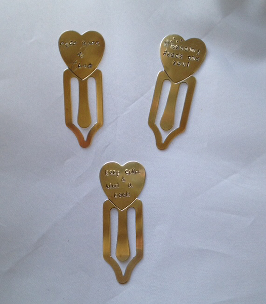 Brass Hand Stamped Bookmarks - Set of 3