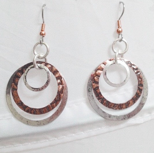 As Seen On The Vampire Diaries - Mixed Metal Double Hoop Earrings