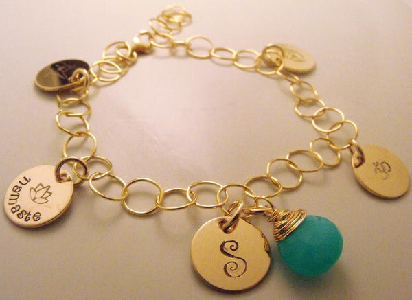 Gold Filled Hand Stamped Charm Bracelet