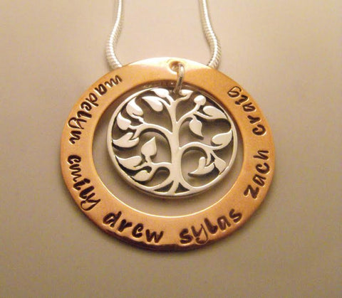 Medium Hand Stamped Tree of Life Necklace