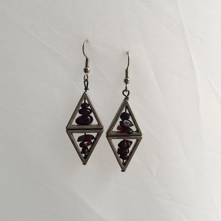 Double Tri Garnet Earrings