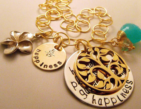 Gold Filled Hand Stamped Hidden Message Cluster Necklace