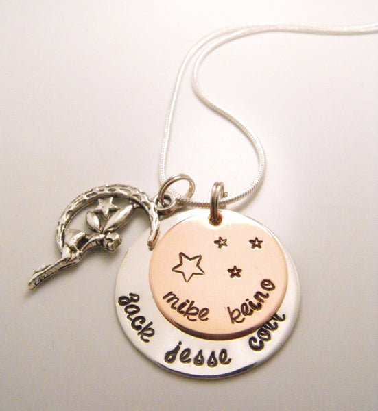 Hand Stamped Mixed Metal Fairy Tale Name Necklace