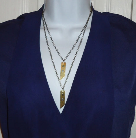 As Seen On The Vampire Diaries - Brass Double Down Necklace