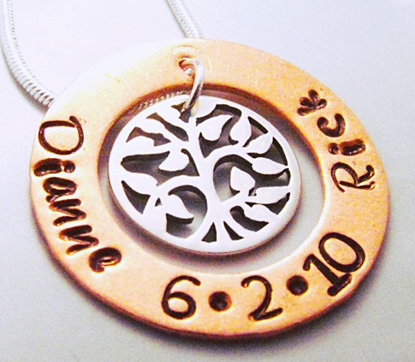 Small Hand Stamped Tree of Life Family Pendant