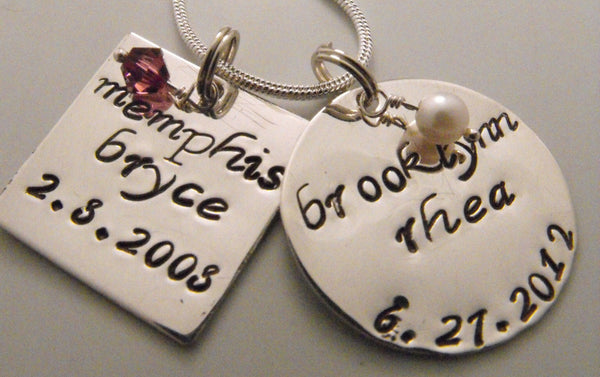 Hand Stamped Sterling Silver Double Charm Necklace