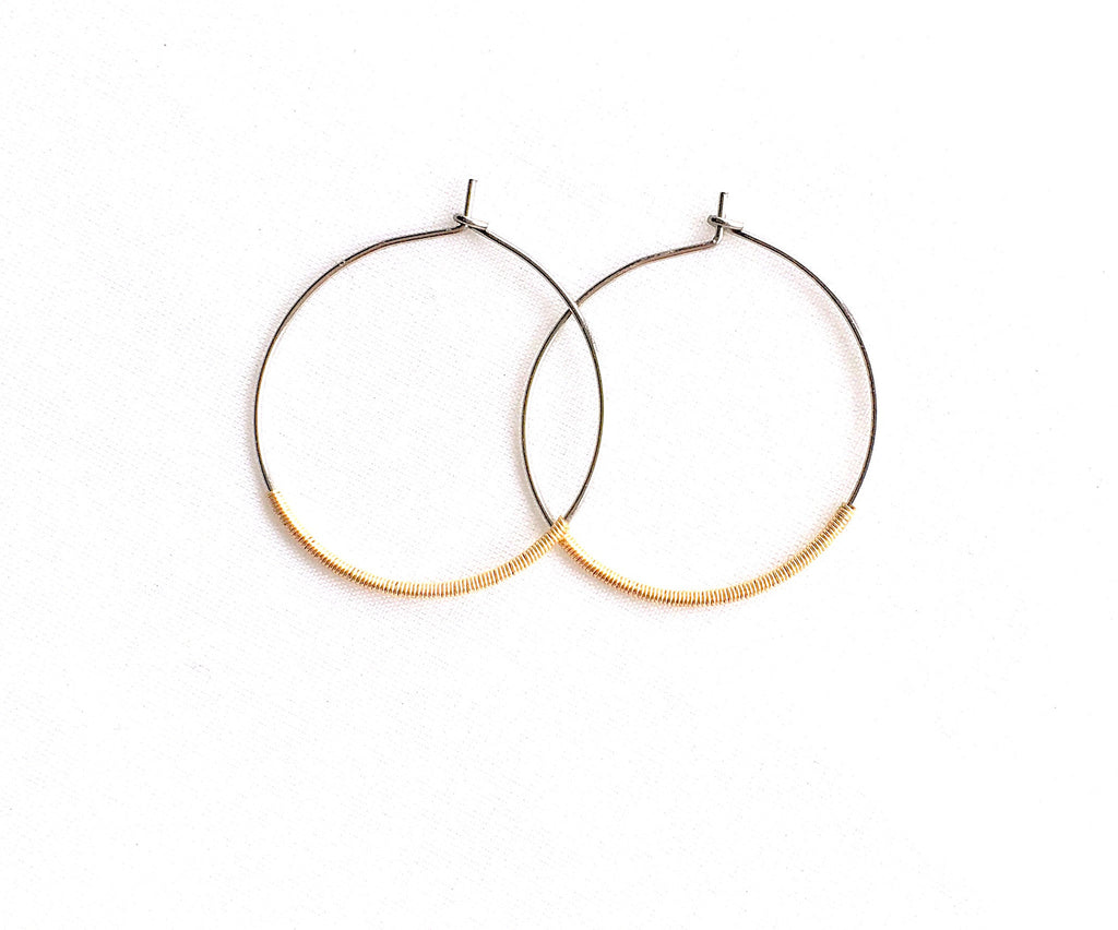Mixed Metal Wire Wrapped Hoops