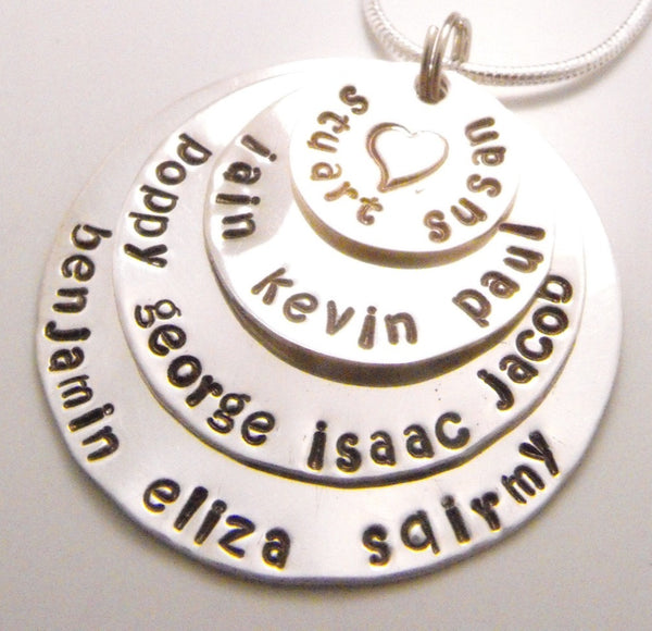 Hand Stamped Sterling Silver Family Necklace