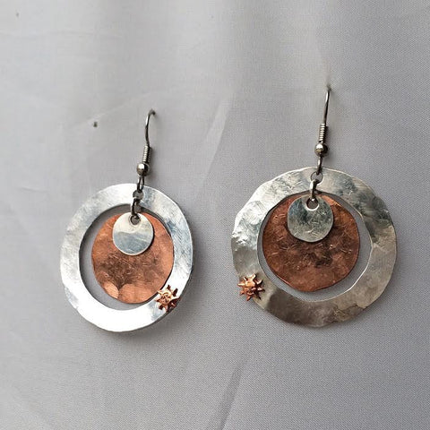 Copper and Silver Sunburst Earrings