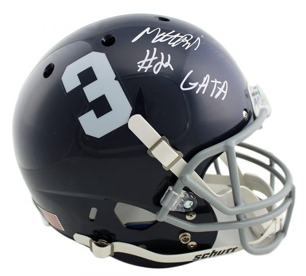 "Matt Breida Signed Georgia Southern Eagles Schutt Full Size NCAA Helmet with ""GATA"" Inscription"