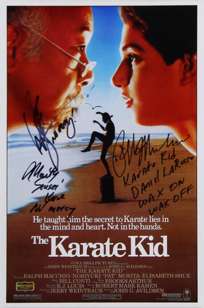 Ralph Macchio, William Zabka, & Martin Kove Signed Karate Kid 11″x17″ Poster with 3 Inscriptions