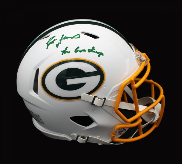 "Brett Favre Signed Green Bay Packers Speed Authentic White Matte NFL Helmet with ""Gunslinger"" Inscription – Limited Edition of 44"