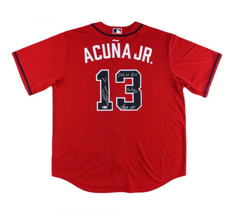 Ronald Acuna Jr. Signed Atlanta Braves Nike Red MLB Jersey with 3 Inscriptions