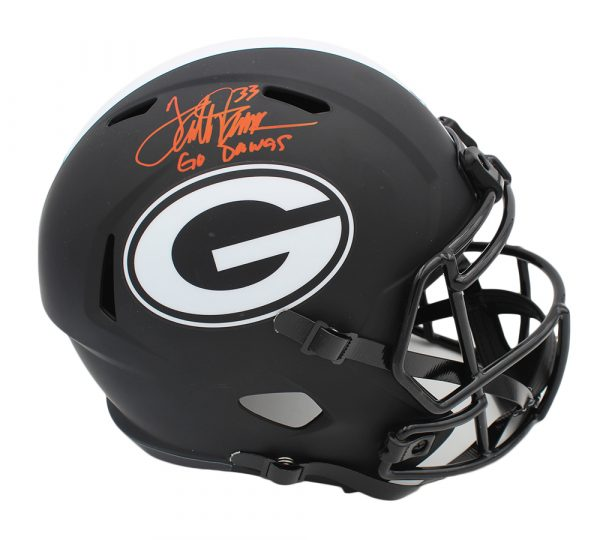 "Terrell Davis Signed Georgia Bulldogs Speed Full Size Eclipse NCAA Helmet with ""Go Dawgs"" Inscription"