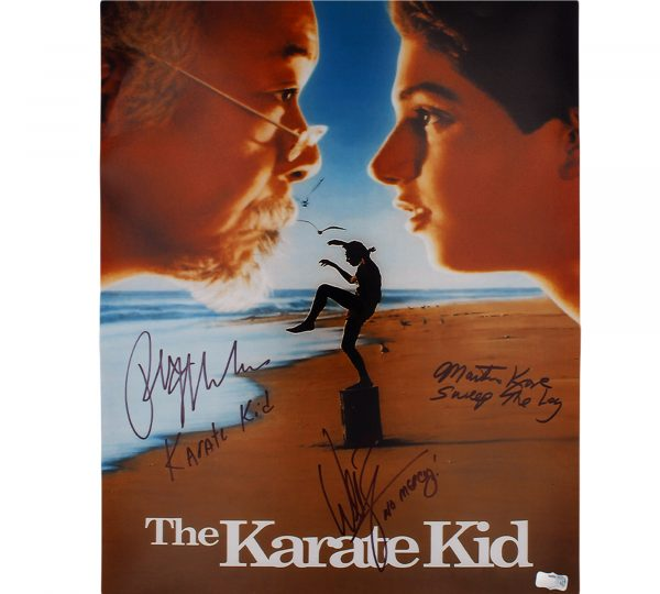 "Macchio, Kove, & Zabka Signed Karate Kid ""Movie Poster"" Unframed 16×20 Photo with 3 Inscriptions"