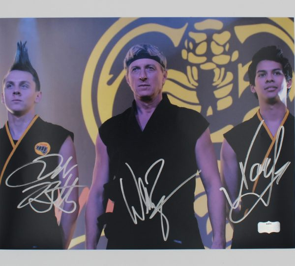 Zabka, Mariduena & Bertrand Signed Cobra Kai Unframed 11×17 Photo