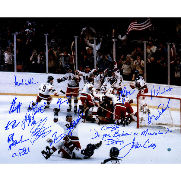 "1980 USA Hockey Team Signed 16x20 Photograph w/ ""Do You Believe in Miracles"" Insc. (17 Signatures) - Memorabilia - SPORTSCRACK"