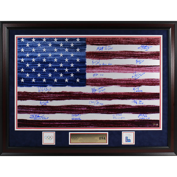 1980 USA Hockey Team Signed American Flag Elite Framed 20X32 Photo w/ Inscriptions (16 Signatures) (LE/80) (Frame Is 26x36) - Memorabilia - SPORTSCRACK