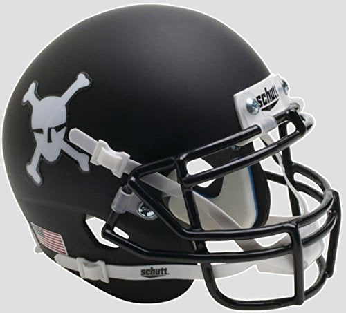 Army Black Knights Skulls and Crossbones Matte Black Schutt Mini Helmet