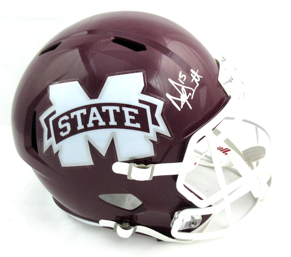 Dak Prescott Signed Mississippi State Bulldogs Speed Full Size Helmet - White Mask