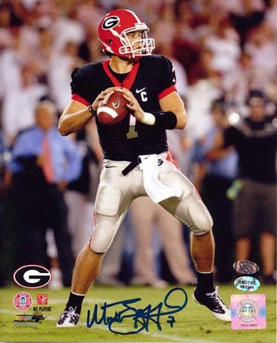 Matthew Stafford Autographed/Signed Georgia Bulldogs 8x10 NCAA Photo Black Jersey