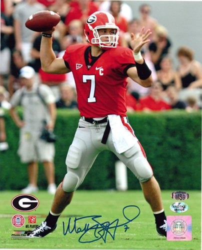 Matthew Stafford Autographed/Signed Georgia Bulldogs 8x10 NCAA Photo Red Jersey