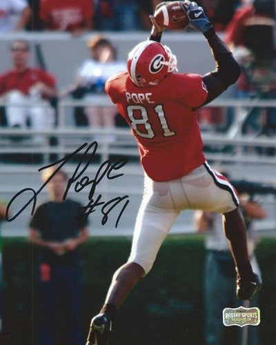 Leonard Pope Autographed/Signed Classic Georgia Bulldogs 8x10 NCAA Photo Jumping