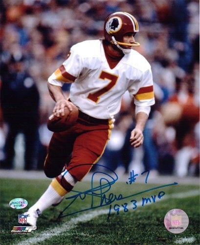 Joe Theismann Autographed/Signed Washington Redskins 8x10 NFL Photo 1983 MVP