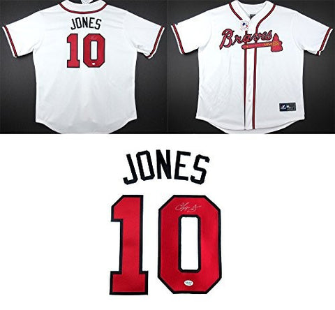 Chipper Jones Autographed/Signed Atlanta Braves Majestic White Home MLB Jersey
