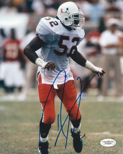 Ray Lewis Autographed/Signed Miami Hurricanes 8x10 NCAA Photo Looking Left JSA - Memorabilia - SPORTSCRACK