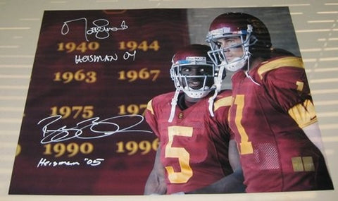 Bush And Leinart Autographed USC 16x20 Photo W/Heisman - Memorabilia - SPORTSCRACK