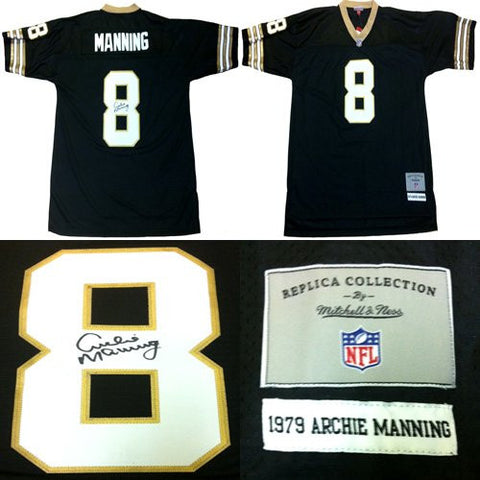 Archie Manning Autographed/Signed New Orleans Saints Mitchell & Ness Throwback Jersey