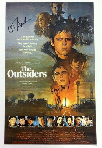 "Ralph Macchio & C. Thomas Howell Autographed/Signed The Outsiders Movie Poster with ""Stay Gold"" Inscription"