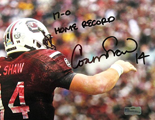 Connor Shaw Autographed/Signed South Carolina Gamecocks 8×10 NCAA Photo with 17-0 Home Record Inscription