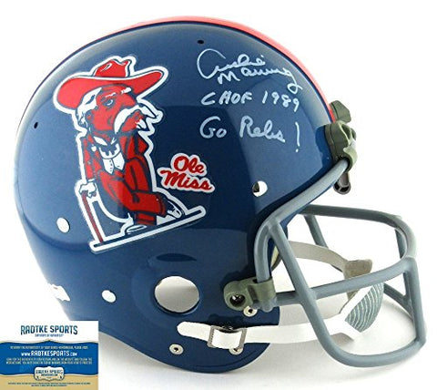 "Archie Manning Autographed/Signed Ole Miss Rebels Throwback Full Size RK Suspension Helmet with ""CHOF 1989 – Go Rebs!"" Inscription – LE #1 of 18"