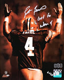 "Brett Favre Autographed/Signed Green Bay Packers Iconic 8x10 NFL Photo With ""Last To Wear 4"" Inscription - LE Of 44"
