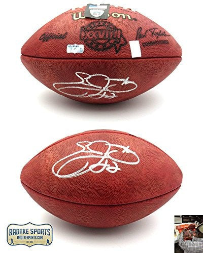 Emmitt Smith Autographed/Signed Dallas Cowboys Wilson Authentic Super Bowl 28 NFL Football - Memorabilia - SPORTSCRACK - 1