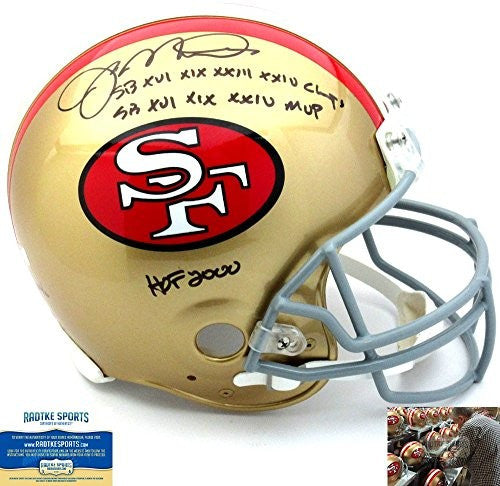 Joe Montana Autographed/Signed San Francisco 49ers Riddell Throwback Authentic NFL Helmet With Career Stats Inscription - LE #16 Of 16