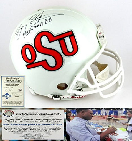 "Barry Sanders Autographed/Signed Oklahoma State Cowboys Riddell Throwback Authentic NCAA Helmet With ""Heisman 88"" Inscription"