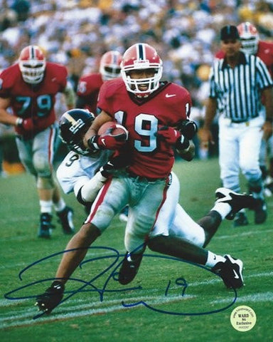 Hines Ward Autographed/Signed Georgia Bulldogs 11x14 NCAA Photo Red Jersey