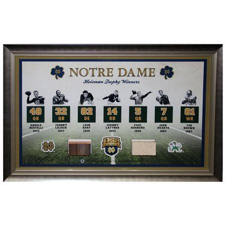 Notre Dame Heisman Trophy Winner Collage w/ Game Used Bench/Brick