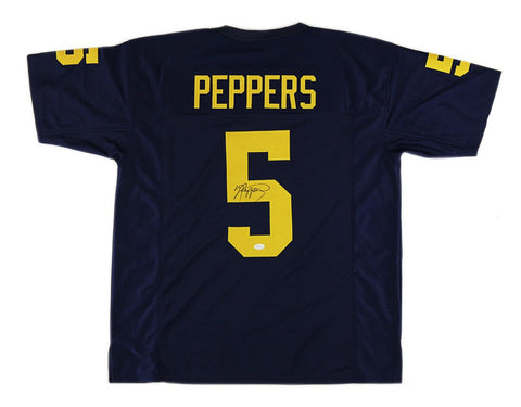 Jabrill Peppers Signed Michigan Wolverines Custom Blue Jersey