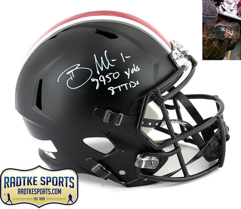 Braxton Miller Autographed/Signed Ohio State Buckeyes Riddell Black Full Size Speed Helmet with Career Stats Inscription
